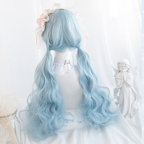 Blue Comet Long Wavy Cosplay Kawaii Lolita Wig with Bangs