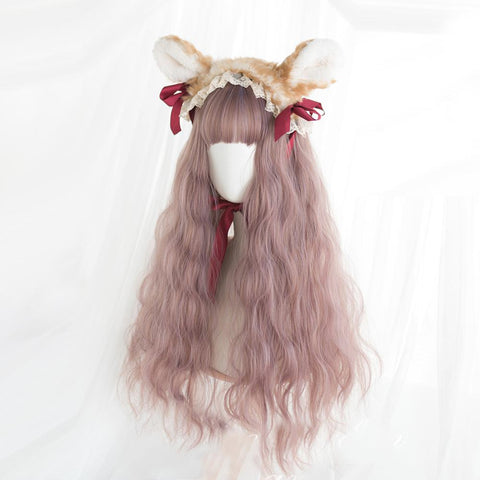 Winter Fog Long Wavy Mix Fluffy Kawaii Cosplay Lolita Wig with Bangs