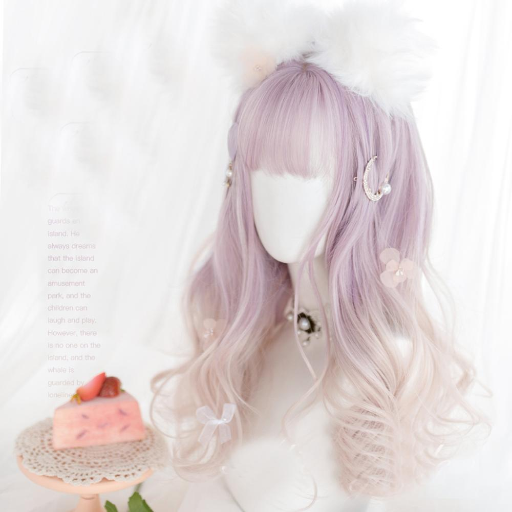 Diamond Fluff Purple Blond Ombre Long Wavy Cosplay Kawaii Lolita Wig with Bangs