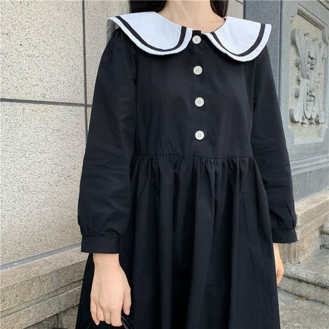 Dark Lolita Sailor Collar Loose Long Sleeve Dolly Dress