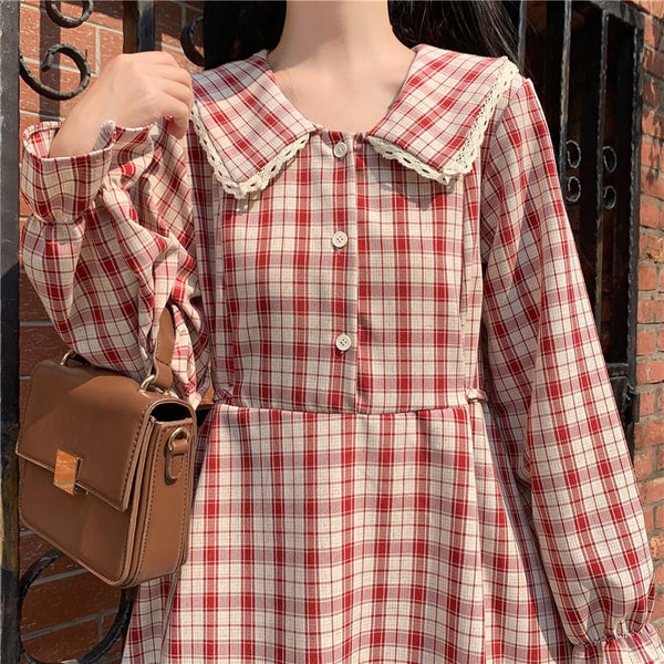 Casual Otome Kei Plaid Long Sleeve Fall Dolly Dress