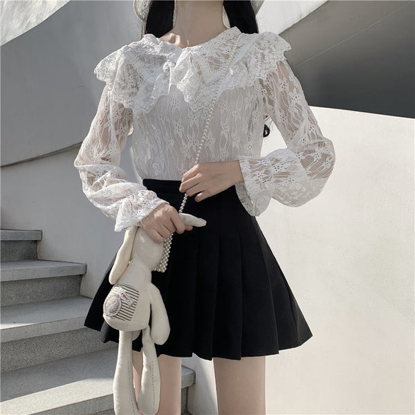 White Lace Kawaii Lolita Long Sleeve Blouse