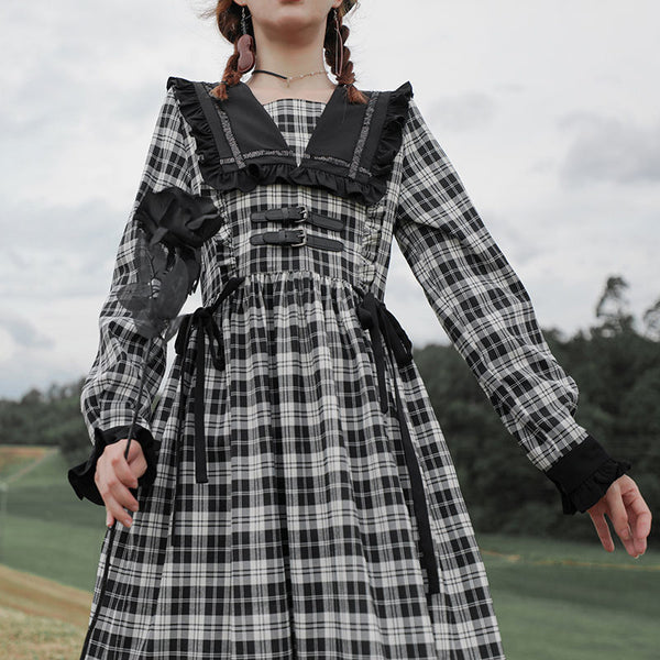 Williamina Dark Lolita Plaid Gothic Long Sleeve Dress