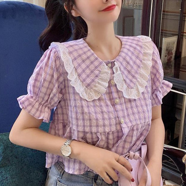 Purple Plaid Vintage-Style Cropped Dolly Blouse