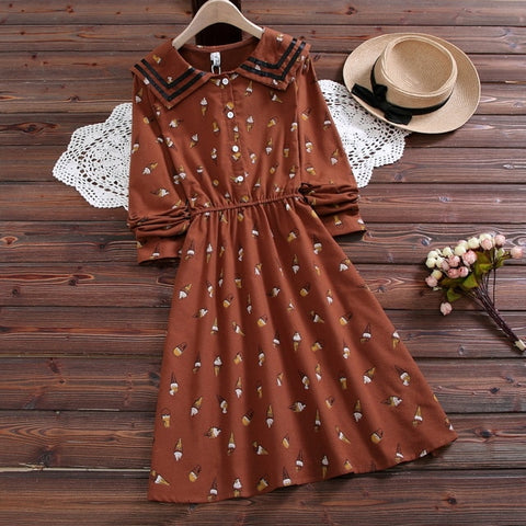 Autumn Icecream Mori Girl Vintage-Style Sailor Dress