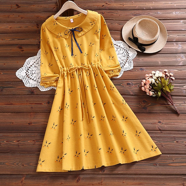 Autumn Bunny Peter Pan Collar Long Sleeve Mori Dress