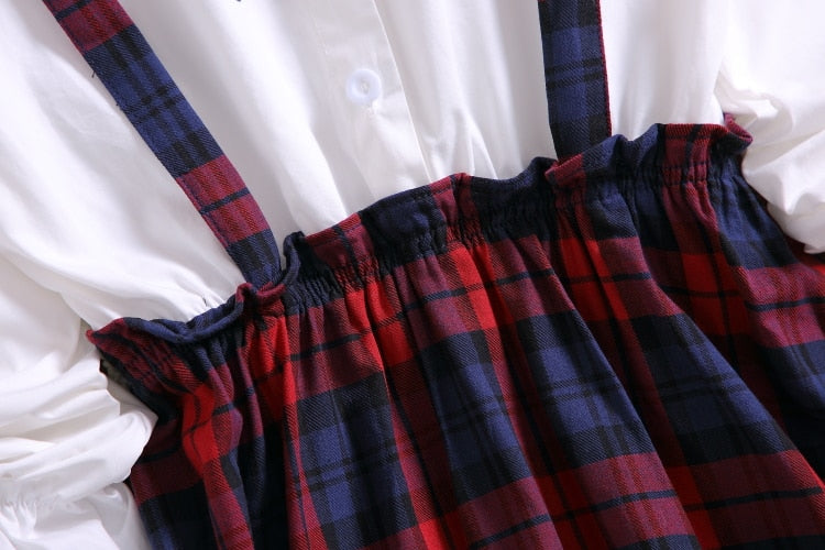 One Piece Plaid Tartan Cottagecore Autumn Dress