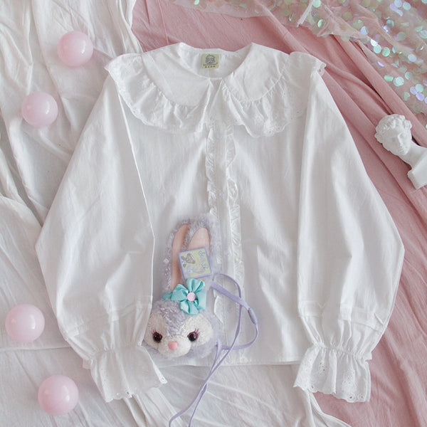 Bear Lace Collar Long Sleeve Kawaii Shirt