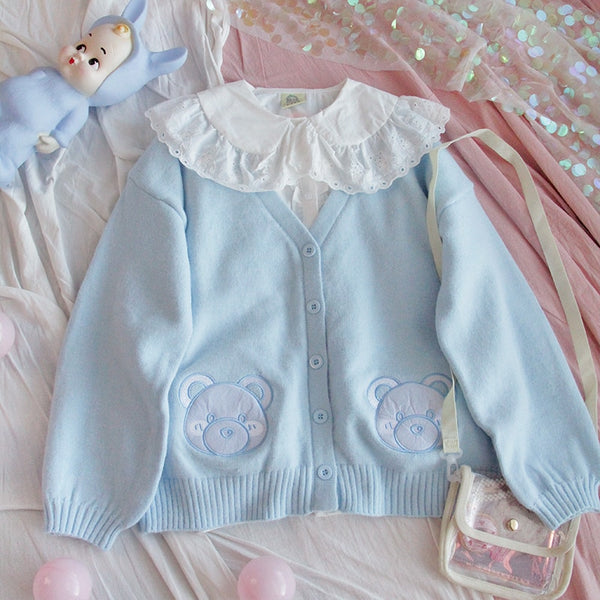 Baby Blue Bear Kawaii Girl Cardigan
