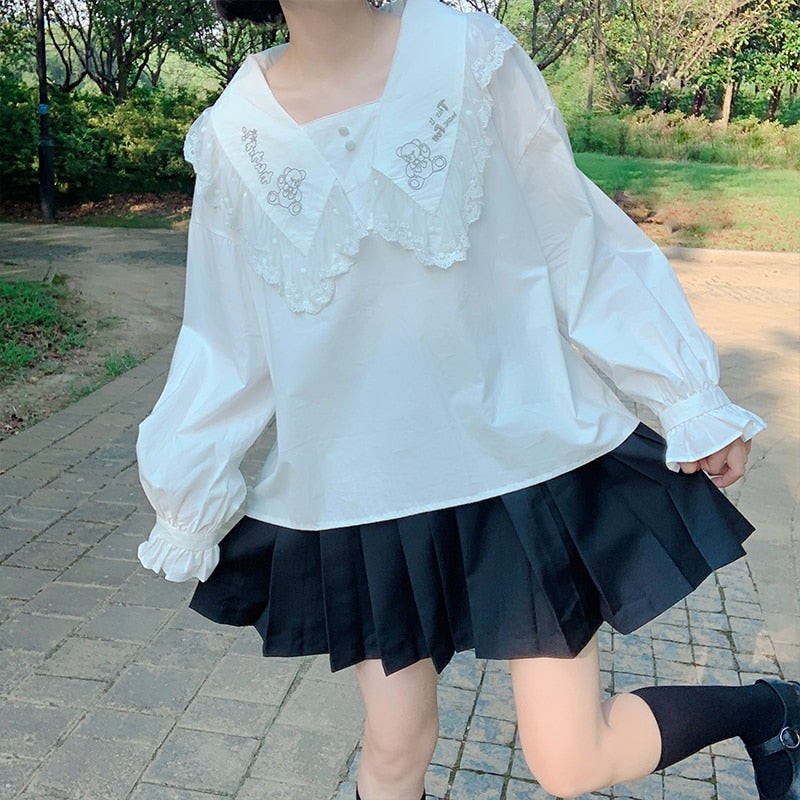 Bear Embroidered Lace Collar Kawaii Lace Collar Blouse