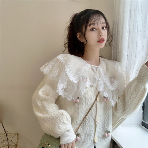 Casual Cherry Knitted Cardigan Sweater