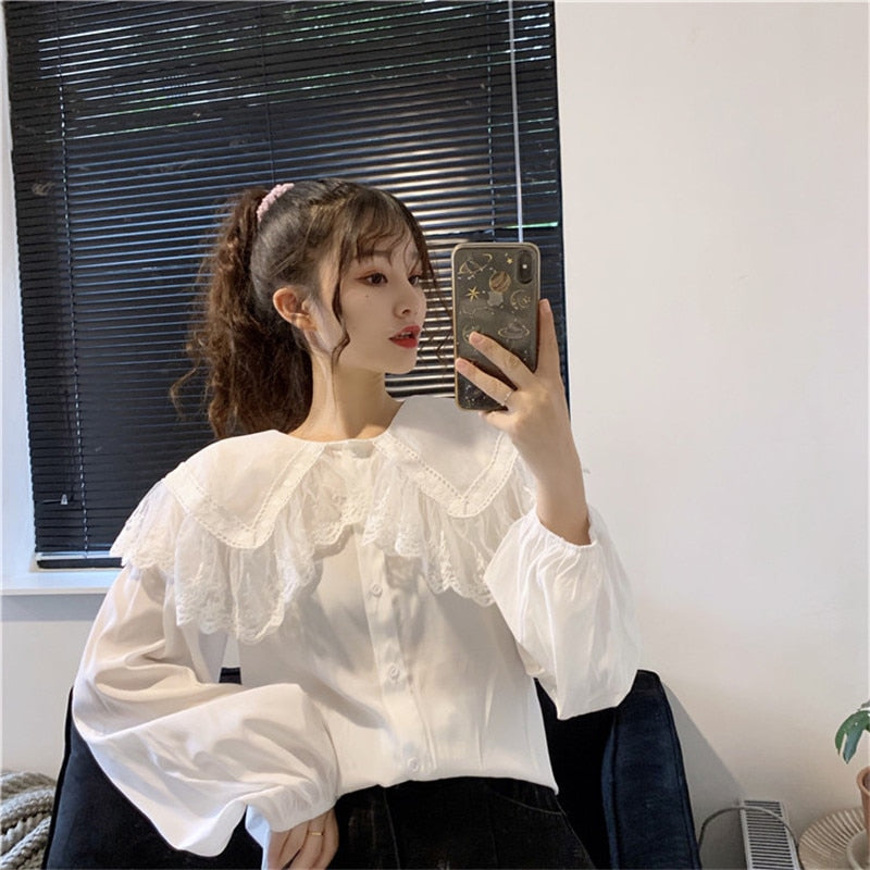 Kawaii Mori Girl Lace Collar Long Sleeve Shirt