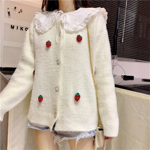 Casual Kawaii Strawberry Decorated Cardigan Sweater