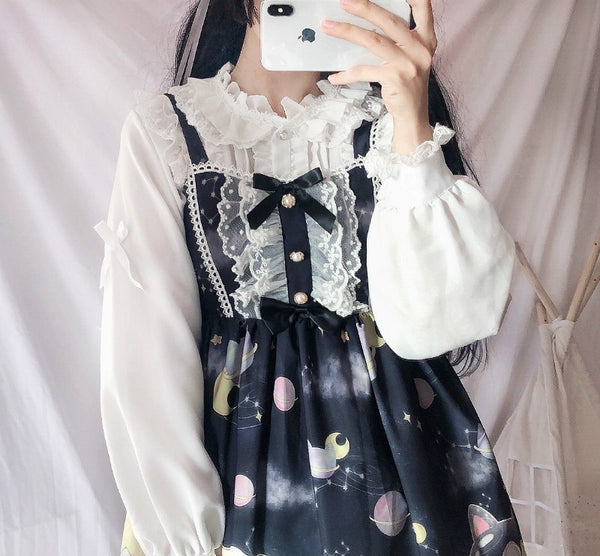 Kawaii Princess White Long Sleeve Lolita Shirt
