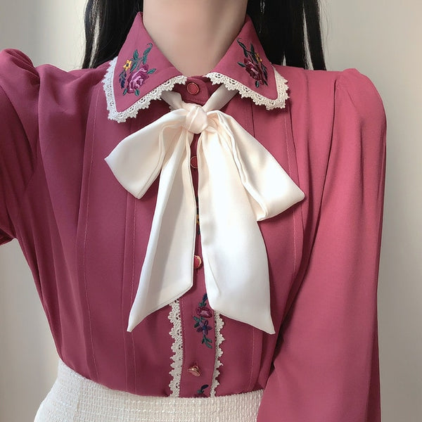 Celestia Vintage-Aesthetic Flower Embroidered Chiffon Shirt