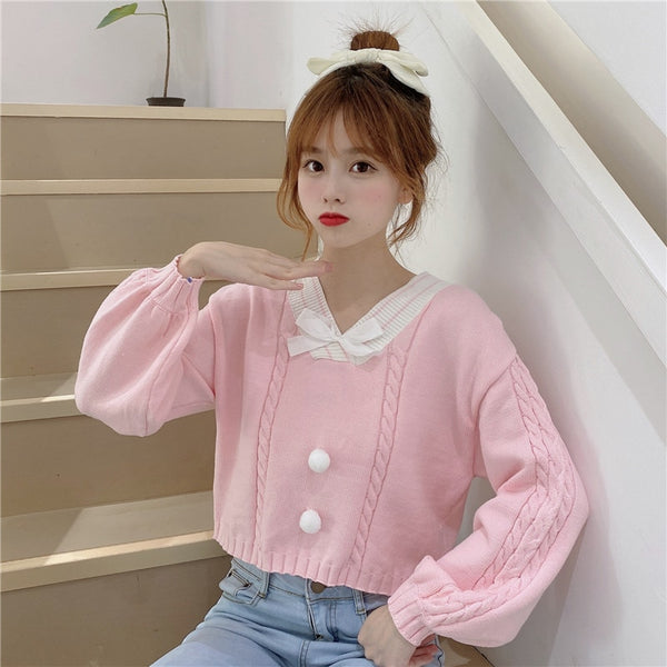 Fairy-Kei Candy Pastel Kawaii Aesthetic PomPom Sweater