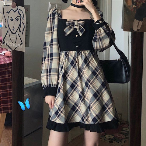 Koko Winterhop Plaid Long Sleeve Dress with Bow