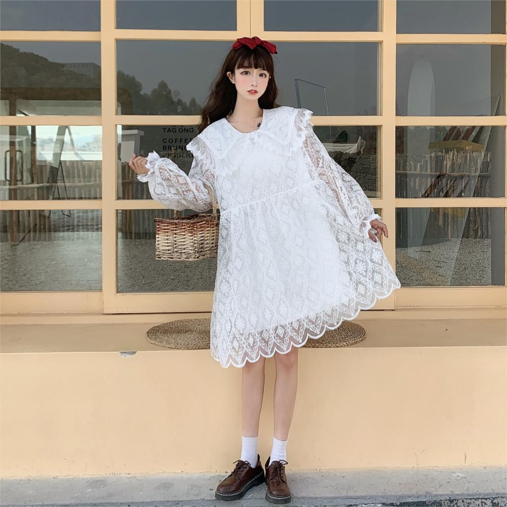 Candle Forest Cottagecore Aesthetic Fall Lace Dolly Dress