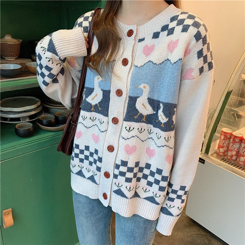Duck Cardigan Vintage-Aesthetic Mori Cottagecore Sweater