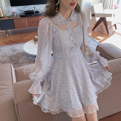 Lucy Floral Autumn Vintage Aesthetic Fairy Chiffon Mini Dress