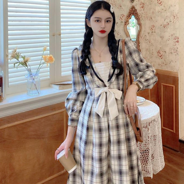 Plaid Vintage Aesthetic Casual J-Fashion Fall Midi Dress