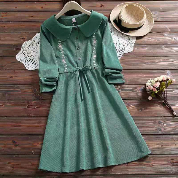 Corduroy Mori Girl Cottagecore Floral Embroidery Autumn Dress