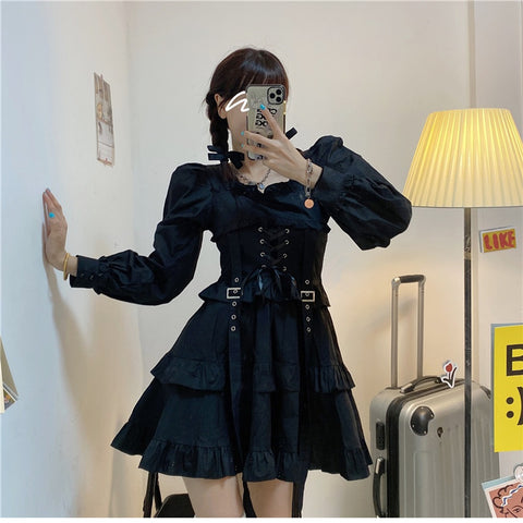 Dark Lolita Lace-up Mini Dress