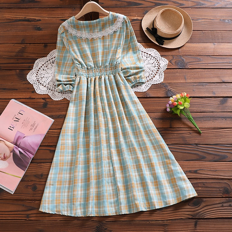 Plaid Mori Girl Casual Cottagecore Style Dress