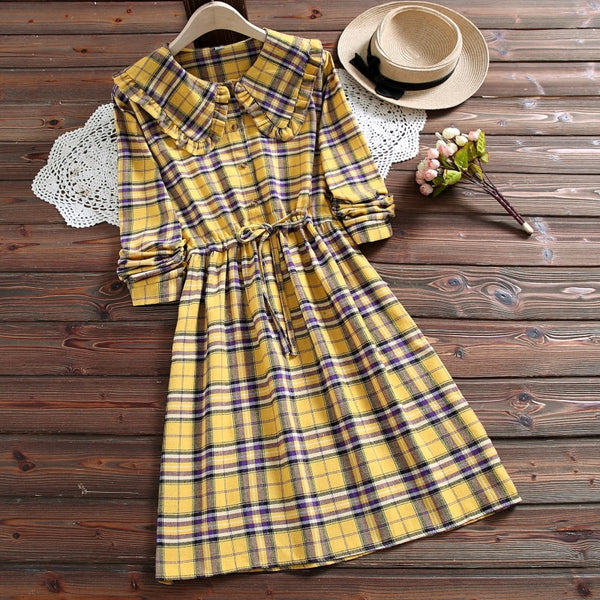 Plaid Mori Girl Casual Vintage-Style Winter Dress