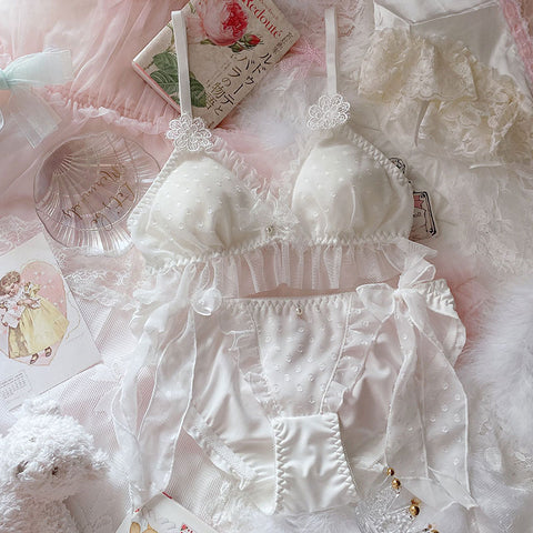 Dreamy Delicate White Fairy Lace Kawaii Princess Nymphet Lolita Lingerie Set