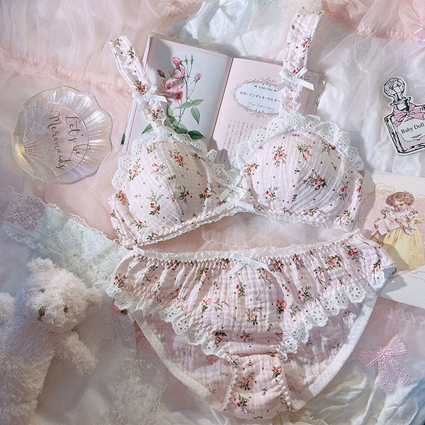 2-piece Floral Kawaii Princess Nymphet Lolita Lingerie Set