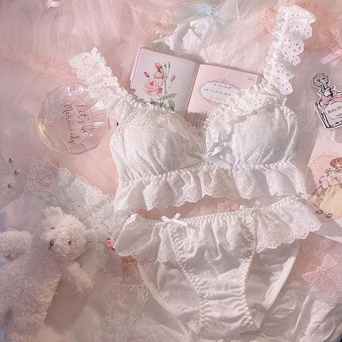 2-piece Cotton Lace Ruffle Kawaii Princess Nymphet Lolita Lingerie Set