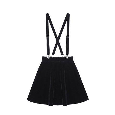 Black Velvet Gothic Pinafore Mini Skirt