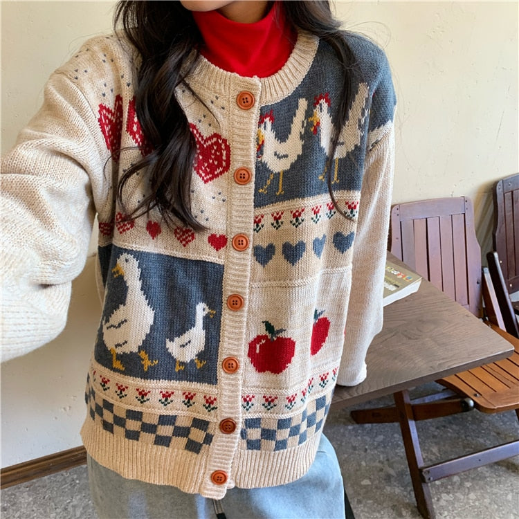 Cottagecore Vintage-Style Casual Loose Duck Sweater Cardigan
