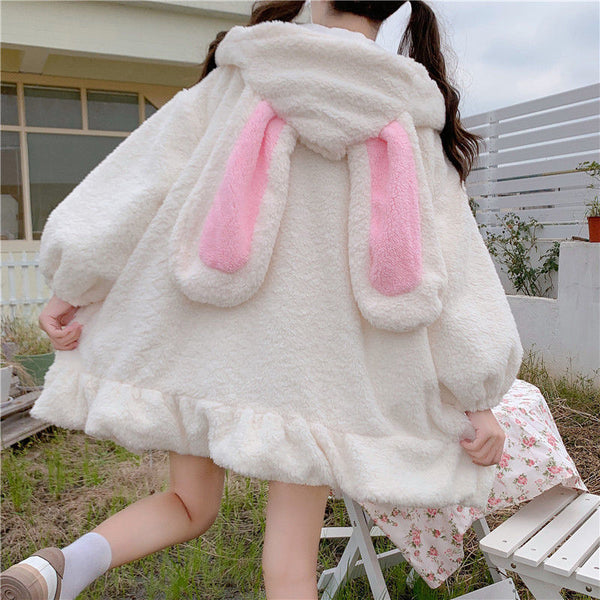 Kawaii Aesthetic Fuzzy White Bunny Ear Zipper Hoodie