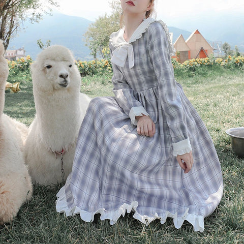 Jenny Bumblepuff Plaid Kawaii Cottagecore Lolita Dress