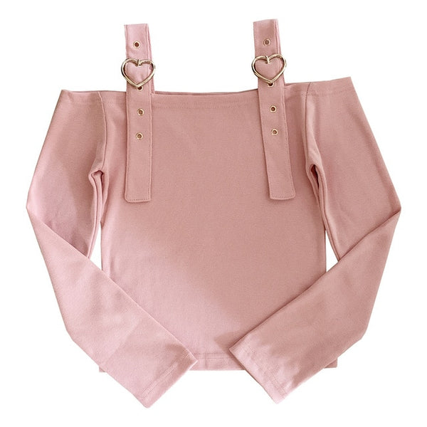 Pastel Kawaii Aesthetic Japanese Larme Style Off Shoulder Crop Top