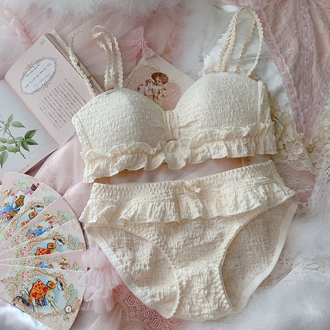 Sweet Ruffles Girly Kawaii Princess Nymphet Lolita Lingerie Set