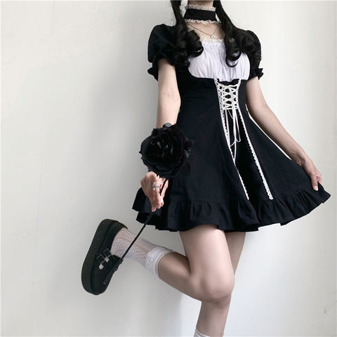 Kikii Kawaii Girl Gothic Doll Lace-Up Dress
