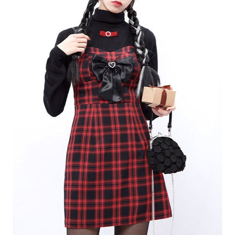 Red Plaid Dark Lolita Gothic Aesthetic Mini Dress