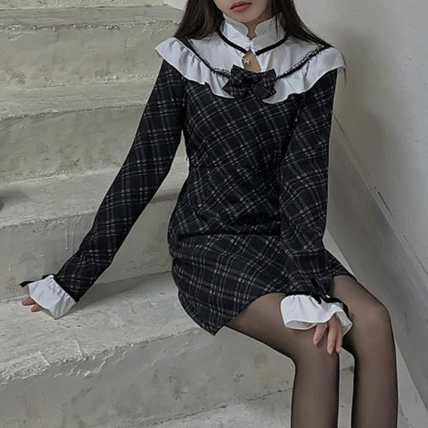 Marceline Plaid Gothic Dark Lolita Mini Dress