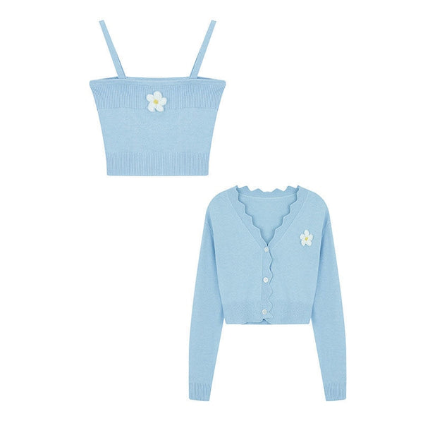 2-Piece Set Pastel Kawaii Aesthetic Cardigan + Cami