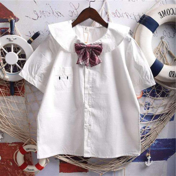 White Bunny Ears Collar Kawaii Shirt With Bow