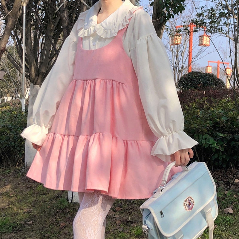 2-Piece Pink Kawaii Girl Sweet Aesthetic Lolita Dolly Dress