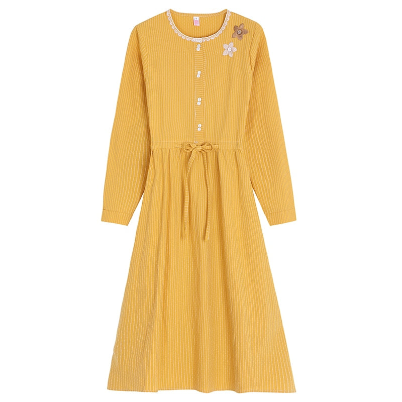Daffodil Mori Girl Flower Embroidered Spring Cottagecore Dress