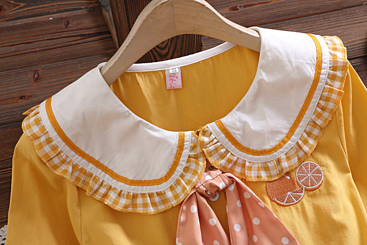 Orange Lemonade Kawaii Dolly Cottagecore Dress