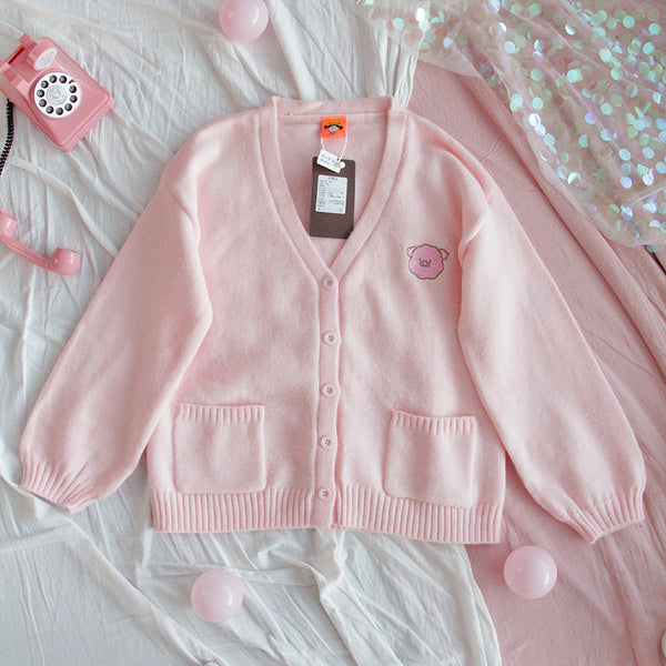 Pastel Kawaii Aesthetic Warm Knitted Cardigan