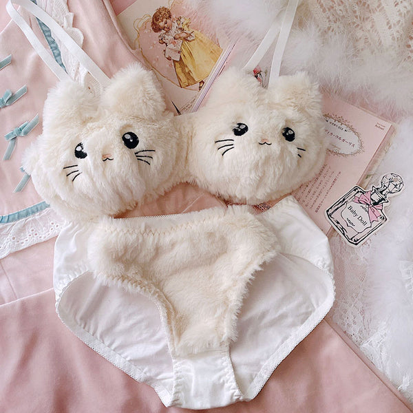 Soft Fuzzy Kitten Kawaii Princess Lingerie Set