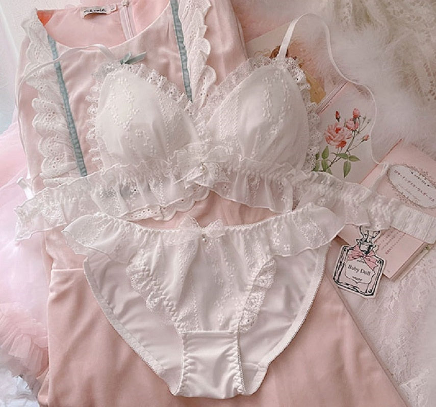 White Ruffle Kawaii Princess Nymphet Lolita Lingerie Set