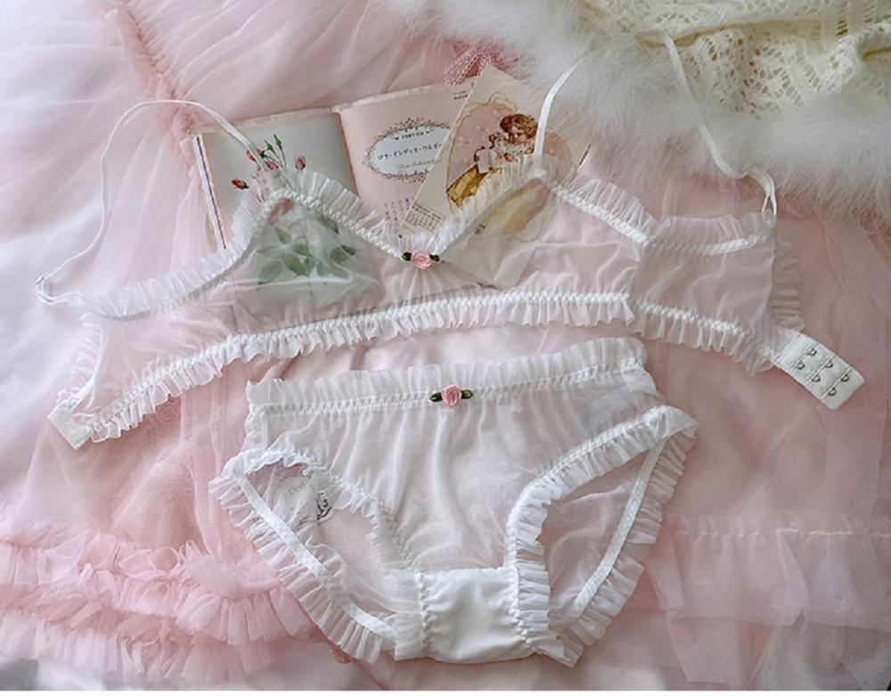 Girly & Romantic Delicate Sheer 2-Piece Soft Girl Nymphet Lingerie Set